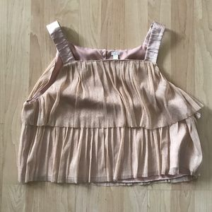 I Love H81 Pink Gold Tulle Crop Top